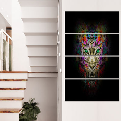 Designart Fierce Tiger Head On Black Animal CanvasArt Print- 4 Panels