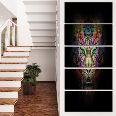 Fierce Tiger Head On Black Animal Canvas Art Print- 5 Panels