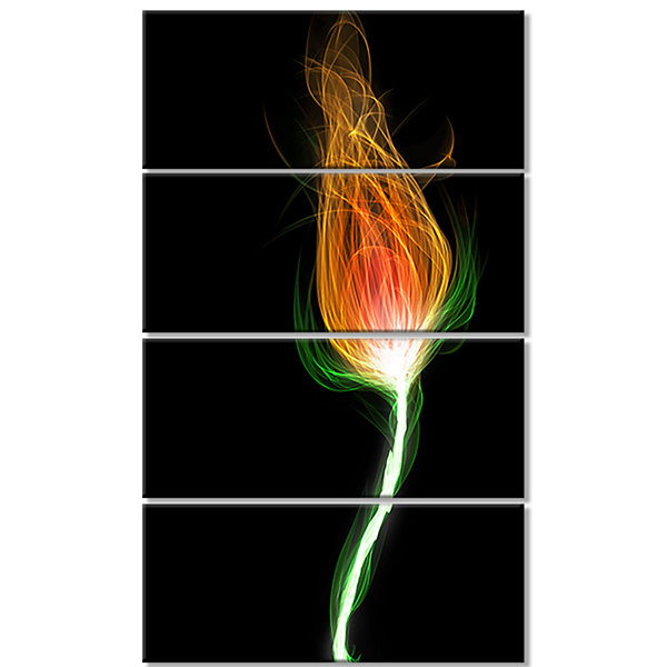 Designart Fiery Fractal Flower With Stem Floral Canvas Art Print - 4 Panels