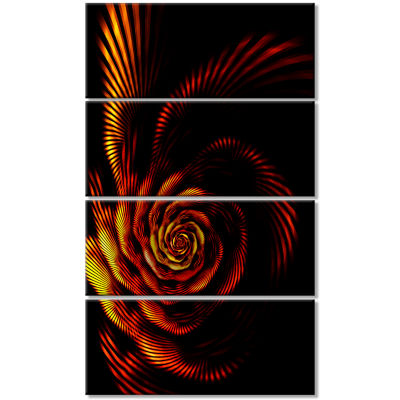 Fiery Rose Fractal Flower Of Passion Flower Artwork On Canvas - 4 Panels