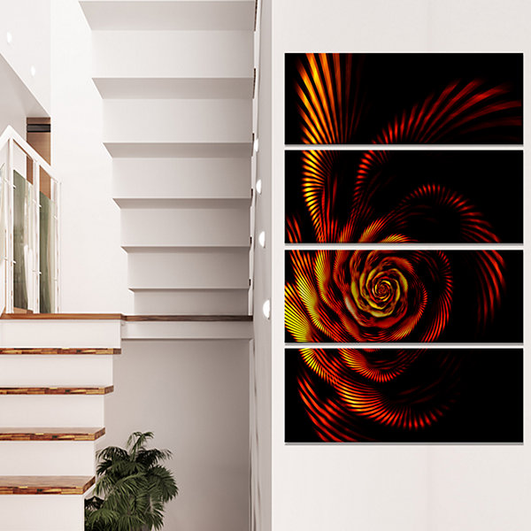 Designart Fiery Rose Fractal Flower Of Passion Flower Artwork On Canvas - 4 Panels