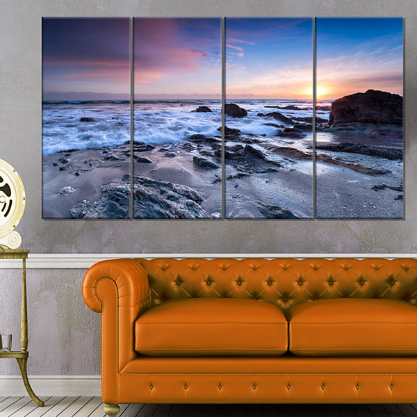 Designart Finnygook Beach In Cornwall At Sunset Modern Seashore Canvas Art - 4 Panels