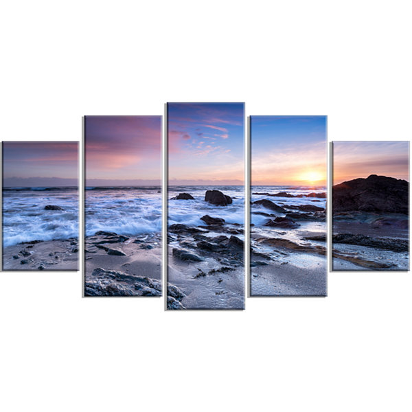 Designart Finnygook Beach In Cornwall At Sunset Modern Seashore Wrapped Canvas Art - 5 Panels