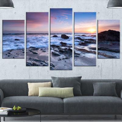 Designart Finnygook Beach In Cornwall At Sunset Modern Seashore Canvas Art - 5 Panels