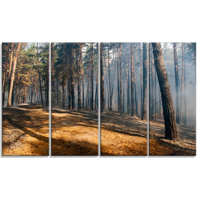 Designart Fire In Forest With Flame And Smoke Modern ForestCanvas Art - 4 Panels
