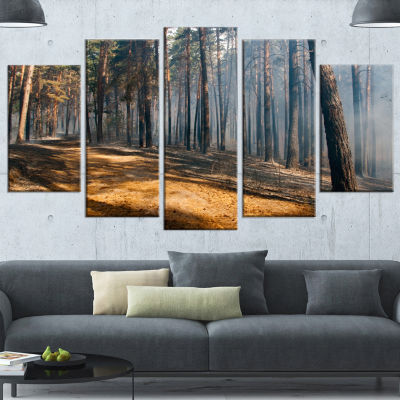 Designart Fire In Forest With Flame And Smoke Modern ForestWrapped Canvas Art - 5 Panels
