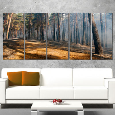 Designart Fire In Forest With Flame And Smoke Modern ForestCanvas Art - 5 Panels