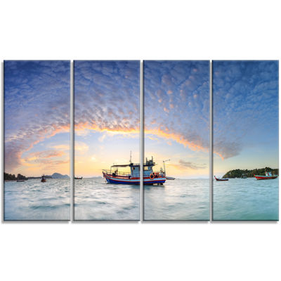Designart Fishing Boat At Phuket Sunrise Beach Modern Seascape Canvas Artwork - 4 Panels