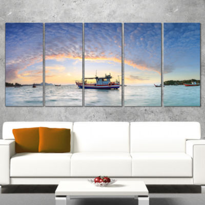 Designart Fishing Boat At Phuket Sunrise Beach Modern Seascape Canvas Artwork - 5 Panels