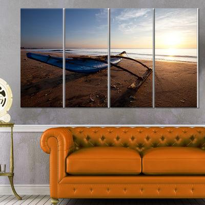 Fishing Boat In Sri Lanka Beach Large Seashore Canvas Print - 4 Panels