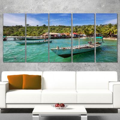 Designart Fishing Boats In Kep Cambodia Seashore Wrapped Canvas Art Print - 5 Panels