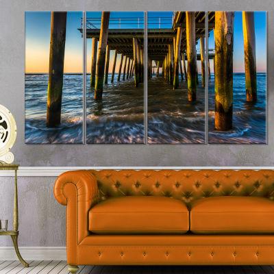 Fishing Pier And Waves At Atlantic Sea Pier Seascape Canvas Art Print - 4 Panels