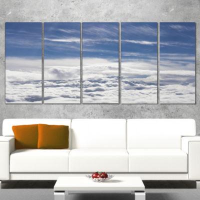 Designart Flight Over Bright Clouds Contemporary Landscape Canvas Art - 4 Panels
