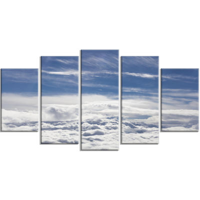 Flight Over Bright Clouds Contemporary Landscape Wrapped Canvas Art - 5 Panels