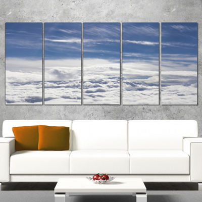 Designart Flight Over Bright Clouds Contemporary Landscape Wrapped Canvas Art - 5 Panels