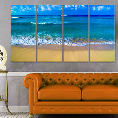 Designart Floating Blue Waves Beach Large SeashoreCanvas Print - 4 Panels