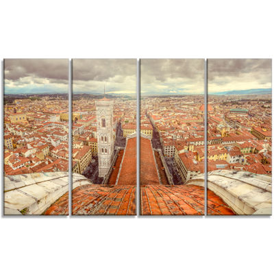 Designart Florence View From Duomo Cathedral Cityscape Canvas Print - 4 Panels