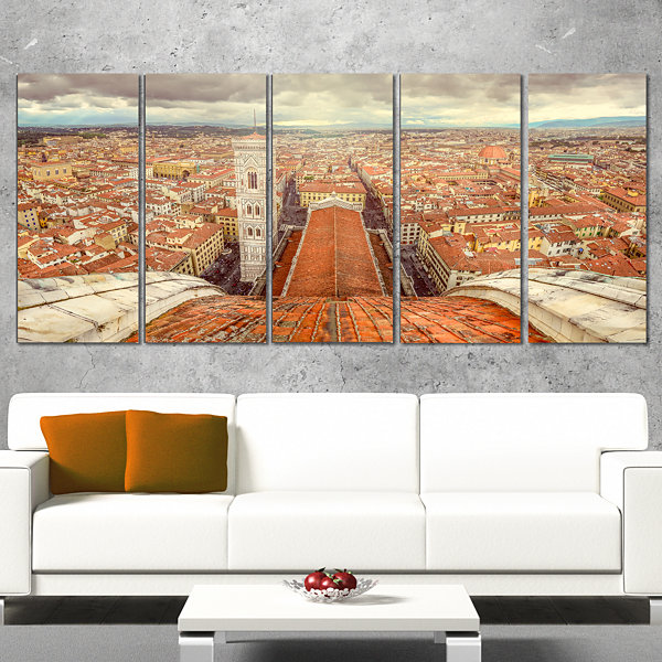 Designart Florence View From Duomo Cathedral Cityscape Wrapped Canvas Print - 5 Panels