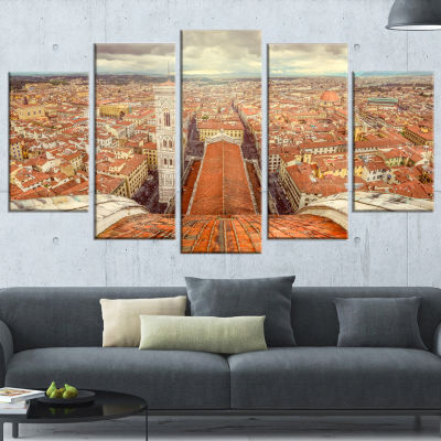 Florence View From Duomo Cathedral Cityscape Wrapped Canvas Print - 5 Panels
