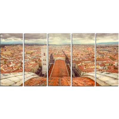 Designart Florence View From Duomo Cathedral Cityscape Canvas Print - 5 Panels