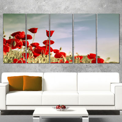 Designart Flourishing Red Poppies Floral Wrapped Canvas ArtPrint - 5 Panels