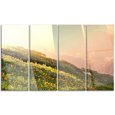 Designart Flowering Mountain Meadow View OversizedLandscapeCanvas Art - 4 Panels