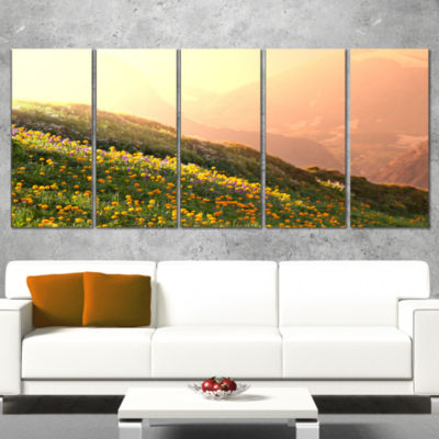Designart Flowering Mountain Meadow View OversizedLandscapeWrapped Canvas Art - 5 Panels