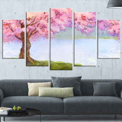 Flowering Pink Tree By Lake Floral Art Canvas Print - 4 Panels