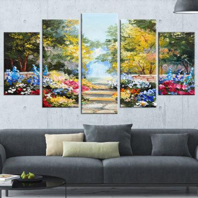 Designart Flowering Trees Over Lake Landscape ArtPrint Canvas - 5 Panels