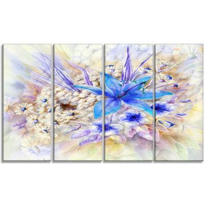 Designart Flowers Leaves Watercolor Art Floral ArtCanvas Print - 4 Panels
