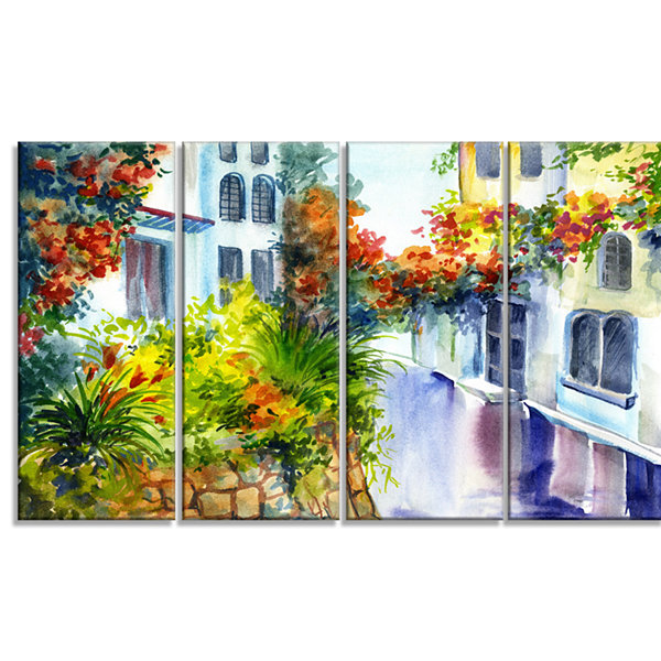 Designart Flowers Near The House Landscape Art Print Canvas- 4 Panels