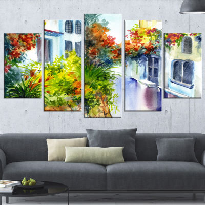 Flowers Near The House Landscape Art Print Canvas- 5 Panels