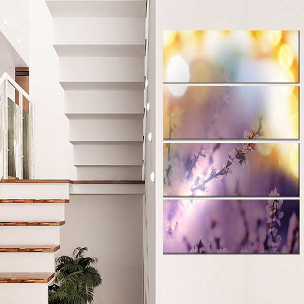 Designart Flowers Of Cherry In Spring Garden Floral Art Canvas Print - 4 Panels