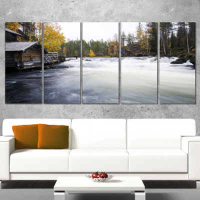 Designart Flowing River And Aged Watermill Landscape Photography Canvas Print - 5 Panels