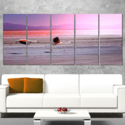 Designart Flying Pair Of Cute Flamingos Animal Wrapped Canvas Art Print - 5 Panels