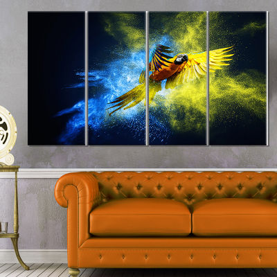 Designart Flying Parrot Over Color Burst Contemporary AnimalArt Canvas - 4 Panels