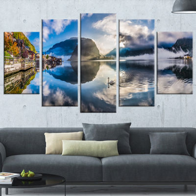 Designart Foggy Alpine Village Panorama LandscapeWrapped Canvas Art Print - 5 Panels