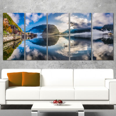 Designart Foggy Alpine Village Panorama LandscapeCanvas ArtPrint - 5 Panels