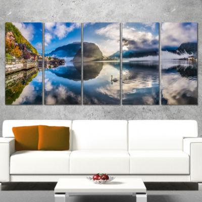 Foggy Alpine Village Panorama Landscape Canvas ArtPrint - 5 Panels