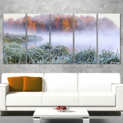 Designart Foggy Autumn Dawn Panorama Landscape Print WrappedWall Artwork - 5 Panels
