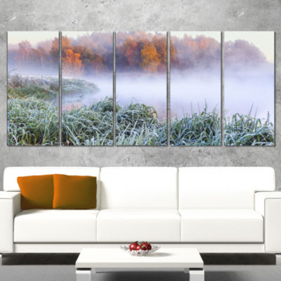 Designart Foggy Autumn Dawn Panorama Landscape Print Wall Artwork - 5 Panels