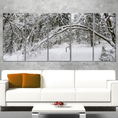 Foggy Black And White Winter Forest Modern ForestWrapped Canvas Art - 5 Panels