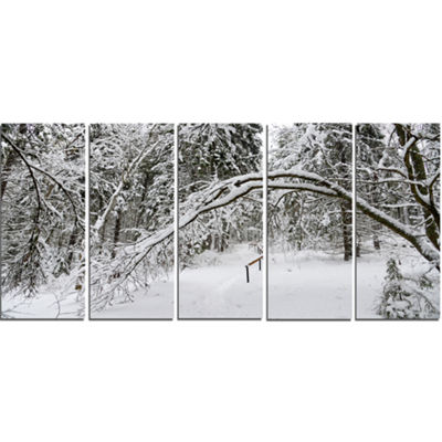 Designart Foggy Black And White Winter Forest Modern ForestCanvas Art - 5 Panels