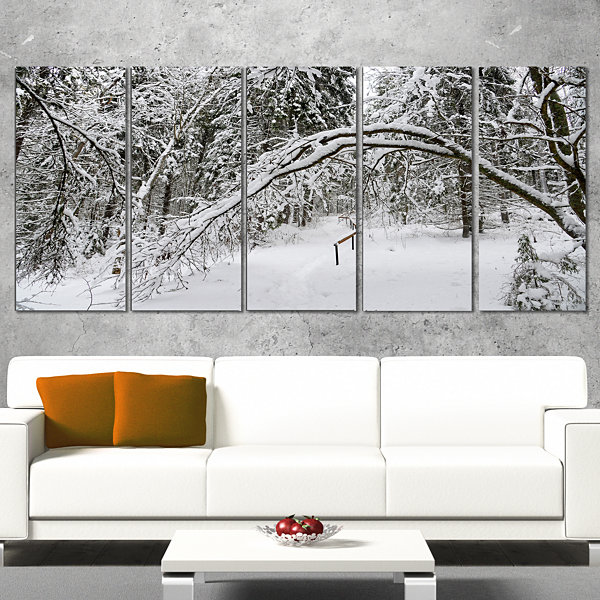 Foggy Black And White Winter Forest Modern ForestCanvas Art - 5 Panels