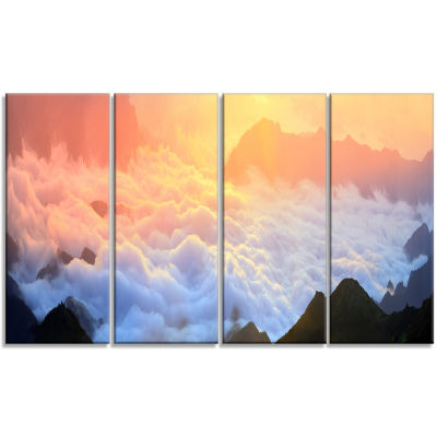 Foggy Carpathian Hills Panorama Landscape Photography Canvas Print - 4 Panels