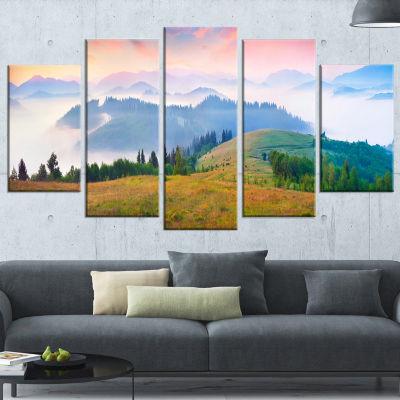 Designart Foggy Carpathian Panorama Landscape Photo WrappedCanvas Art Print - 5 Panels