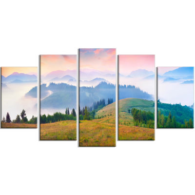 Foggy Carpathian Panorama Landscape Photo Canvas Art Print - 5 Panels