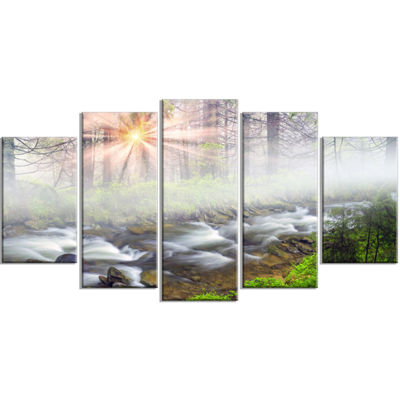 Designart Foggy Carpathian With Sunlight LandscapePhotography Wrapped Canvas Print - 5 Panels