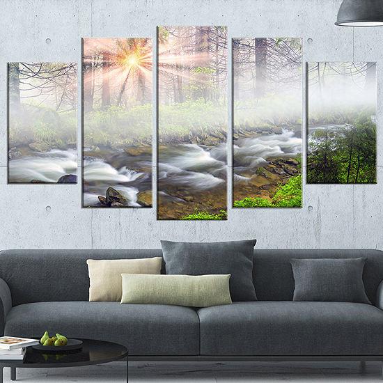 Designart Foggy Carpathian With Sunlight LandscapePhotography Canvas Print - 5 Panels