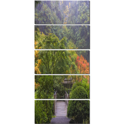 Designart Foggy Dawn In Japanese Garden LandscapePhotography Canvas Print - 5 Panels